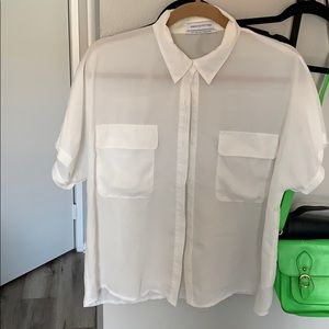URBAN OUTFITTERS WOMENS BUTTON DOWN WHITE T SHIRT
